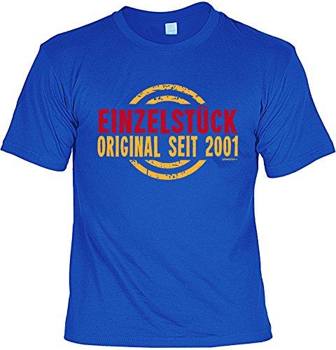 T-Shirt zum 16. Geburtstag Einzelstück Original seit 2001 Geschenk zum 16 Geburtstag Geschenkidee 16. Geburtstag 16 Jahre Geburtstagsgeschenk Royalblau