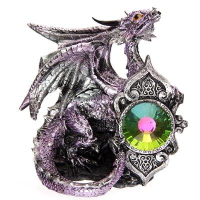 Dark Legends Crystal Shield Dragon Ornament. New Age Dragons. Height 12 - 14cm (Purple)