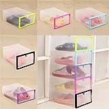 HCFKJ Faltbarer Stapelbarer Durchsichtiger Plastikfach Kasten Organisator Kasten Halter Schuh Speicher