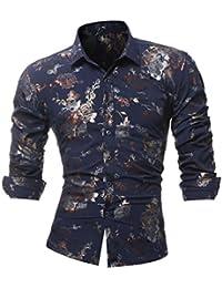 Goosuny Männer Elegante Businesshemd Luxus Hemden Tunika Persönlichkeit  Lässig Schlank Gedruckt Hemd Bluse Blusenshirt Blumendruck Freizeit defa884188