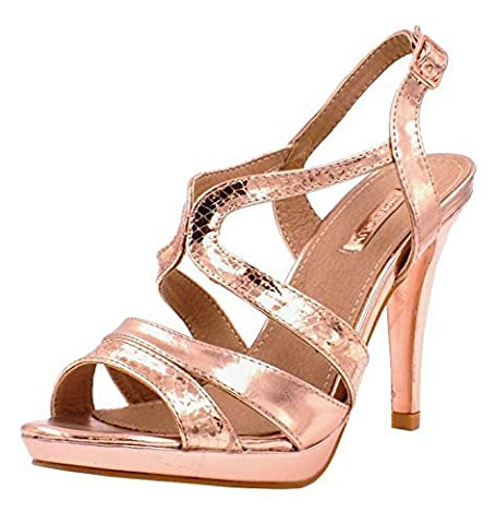 Womens Ladies Metallic High Stiletto Heel Sling Back Buckle Strap Fashion Party Evening Sandals Shoes - D89 (UK 4 / EU 37, ROSE