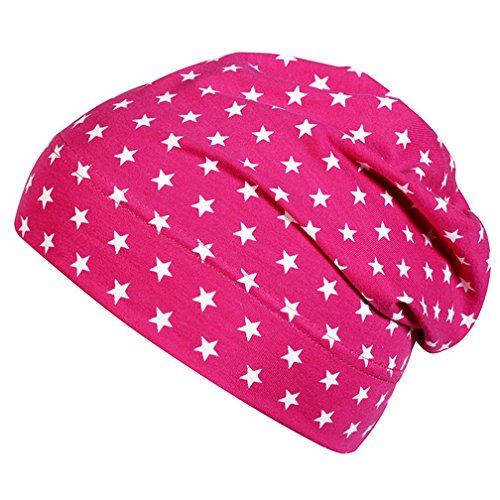 Slouch-Beanie - Sterne Pink - Gr. 49/51