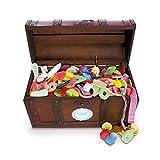 Schmatztruhe, eine Süßigkeitenholztruhe mit den besten Süßigkeiten aus Deiner Kindheit, ein riesiger Schatz mit 3100 Gramm Schlemmerspaß
