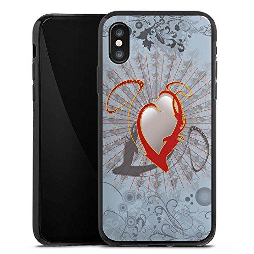 Apple iPhone X Silikon Hülle Case Schutzhülle Herz Heart Design Silikon Case schwarz