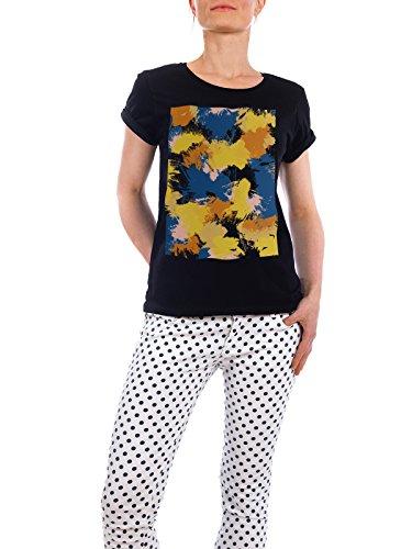 "Design T-Shirt Frauen Earth Positive ""Colorful Abstract Painting"" - stylisches Shirt Abstrakt von Paper Pixel Print Schwarz"