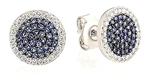 SaySure - Silver Earrings Small Round Blue White CZ Diamond