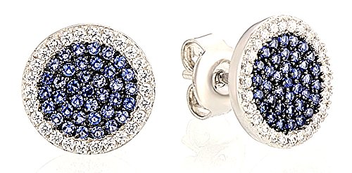 saysure-silver-earrings-small-round-blue-white-cz-diamond