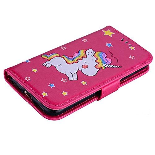 Etui iPhone 7,Coque iPhone 8 , Bling Glitter Licorne Étui Protection Coque Wallet PU en Cuir Housse la Haute Qualité Pochette Anti-rayures Couverture Bumper Rabat Magnétique Antichoc Cuir Véritable Ca Rouge
