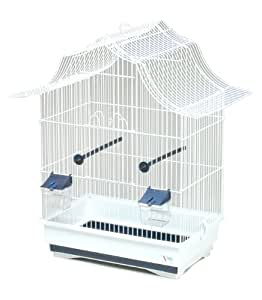 Pet Product Distribution Cage à oiseaux métallique 2 perchoirs, 2 mangeoires, bac extractible 51 x 32,5 x 58,5 cm (Blanc)