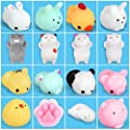 Zekpro Kawaii Squishy Toys (16-Pack) Cute Animal Slow Rising Squishies | Cats, Panda Bear, Pigs, Rabbits | Fun, Colorful, Non-Toxic Silicone | Girls, Boys, and Teens