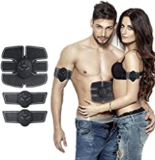 Qualimate Muscle Exerciser Trainer Smart ABS Stimulator Fitness Gym ABS Stickers Pad Body Loss Slimming Massager Mobile Gym Unisex