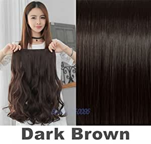 """Straight Curly Half Full Head Clip in hair extensions 100% Synethic Like human Curly - 24"""" Dark Brown - Curly"""