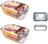 2 x Luminarc Embossed Cow Large Glass Cheese Butter Dish With Lid 17cm x 10.5cm