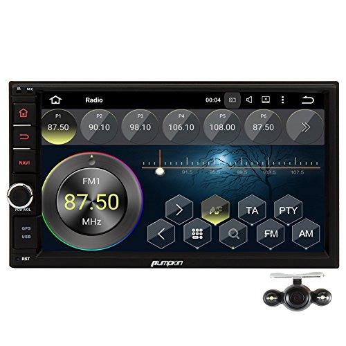 PUMPKIN 2 Din Android 5.1 Autoradio Moniceiver 7 Zoll Quad Core mit GPS Navigation 1080P Touchscreen Unterstützt Wlan 3G DAB+ Bluetooth OBD2 Ohne CD-Laufwerk