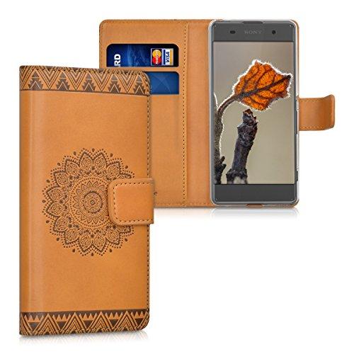 kwmobile Wallet Case Kunstlederhülle für > Sony Xperia XA < - Cover Flip Tasche in Blume Design mit Kartenfach und Ständerfunktion in Dunkelbraun Hellbraun