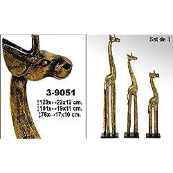 DonRegaloWeb DRW - Set de 3 Figuras de Jirafas en Madera Doradas con Espejos 120x22x12 cm Grande