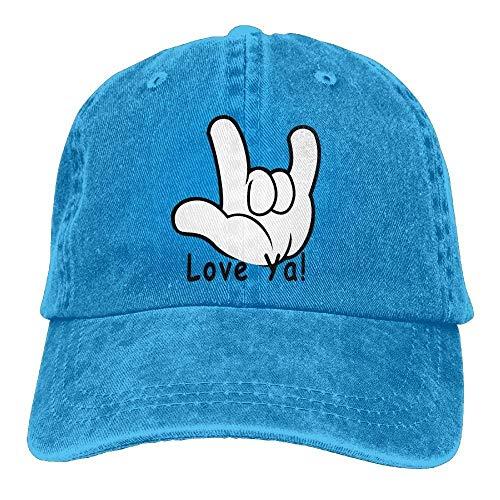 American Sign Language I Love You Ya Denim Hat Men Washed Baseball Kappen Army Cap