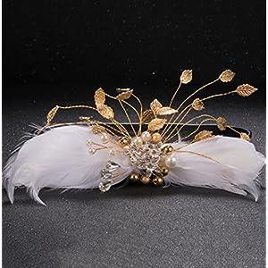 CYY Braut Kopfschmuck Federn weiß Kopfschmuck Legierung Wasser Diamant haarnadel Hochzeit Kleid Blume zubehör