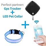 topperone LED Pet Blau Kragen und schwarz Pet Finder- und Handy locator- Hund und Katze GPS-Tracker & verstellbare Größe