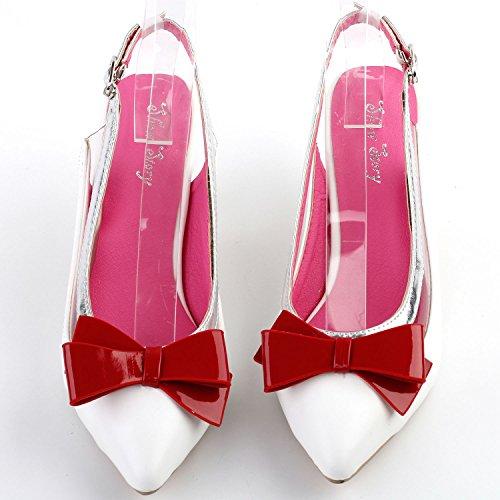 Voir l'établissement histoire élégant Slingback Bow fait exquis talon Perle robe Escarpin, LF60402 Blanc