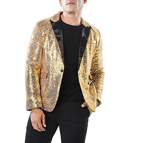 Herren Pailletten Blazer Casual Nachtclub Stil Langarm EIN-Knopf Anzug Slim Fit Anzug Blazer Mantel Jacke Kostüm für Hochzeit Party Dance Tops Mäntel(S, Gold) (2019 Für Top Halloween-kostüme Männer)