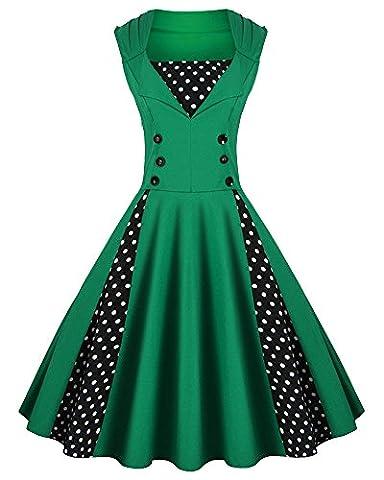 Damen 50S Vintage Ärmelloses Stickerei Print Kleid Swing Mit Punkten Spleiß Cocktailkleid Grün S