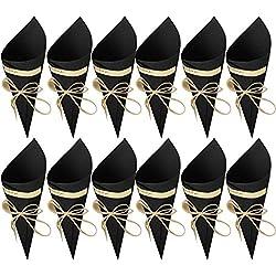 50 Piezas Conos Boda con cuerda de cáñamo, cinta de doble cara y etiqueta adhesiva (Color Negro)