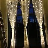 JAYLONG 3 * 3 Mt 300 Led Vorhang Eiszapfen Lichterketten Lichterketten Weihnachten Lampen Weihnachten Hochzeit Dekoration Für Schlafzimmer Wohnzimmer Bett,White,3*2