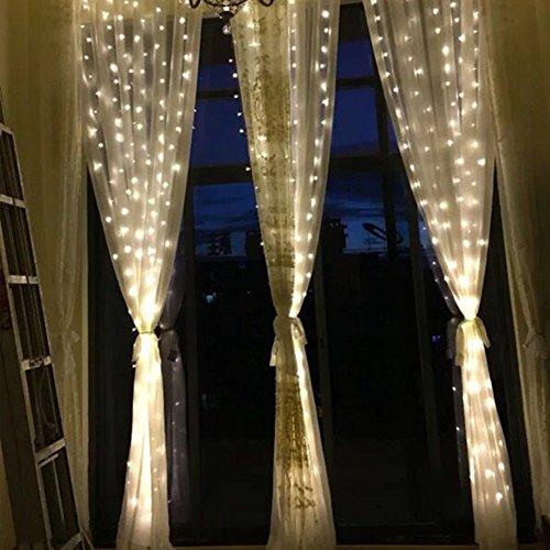 JAYLONG 3 * 3 Mt 300 Led Vorhang Eiszapfen Lichterketten Lichterketten Weihnachten Lampen Weihnachten Hochzeit Dekoration Für Schlafzimmer Wohnzimmer Bett,White,3*2 (Licht-eiszapfen 300)