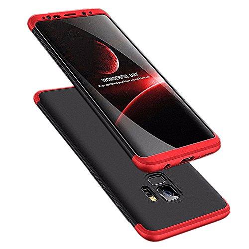 Galaxy s9 Plus Hülle 3 in 1 Handy Hülle Ultra Dünn Hartschale 360 Grad Full Body Schutz Stoßdämpfend Anti-Fingerabdruck Glatte Griff Hybrid Etui Bumper Case Cover (Galaxy S9, Schwarz und Rot) -
