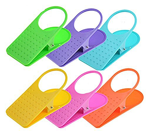 4 pcs coloré Home Office Table Bureau Side Porte-gobelet Clip Clamp Drinklip, couleur aléatoire envoyé