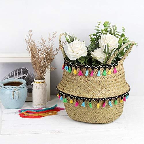STARKWALL Falten Algen Weidenkorb Makrame Dekoration Lagerung Korb Rattan Blumentopf Weben Gartenblumenkopf-Lager 23cmX20cm 2 -