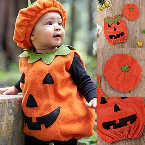 xiaohan Halloween-Kürbisanzug für Babys, Oberteil, Bluse, Kleid, Mütze, ()