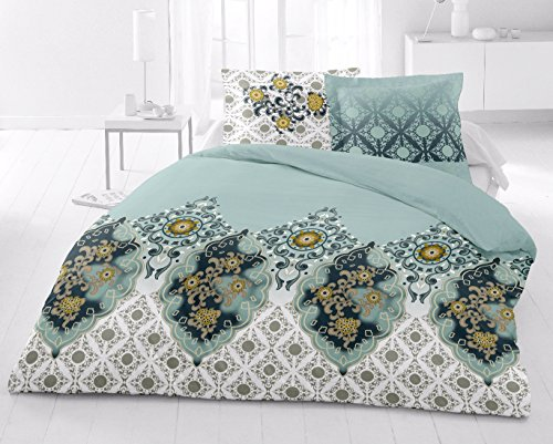 AURAVE Reversible Style Bridal Wedding Collection 1 pc Combed Cotton Duvet Cover/Quilt...