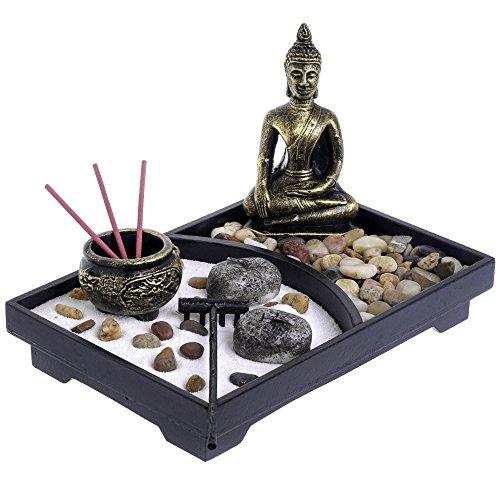 London Boutique Zen Garten- und Deko-Steinen (mit Halterung, Weiß, mit Thai Buddha-l23W16h3cm