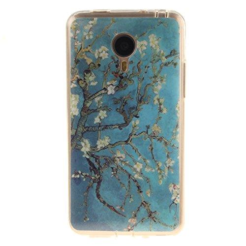 Meizu MX4 Hülle, Hozor Gemaltes Muster Transparent Kante Silikonhülle Ultra Slim Weich TPU Silikon Kratzfeste Handyhülle Schutz Case Backcover - Pflaumenbaum