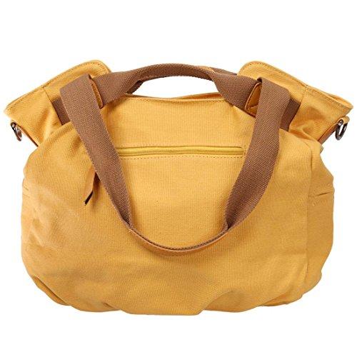 BMC da donna doppia di tela maniglia superiore shopping borsa a tracolla Light Orange