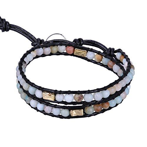 KELITCH Leder Armband Frauen Herren Wickelarmband Leder Armband Bunt Jade Perlen Legierung Gravur 2 Wrap Armbänder - Armband Und Leder Perlen-wrap