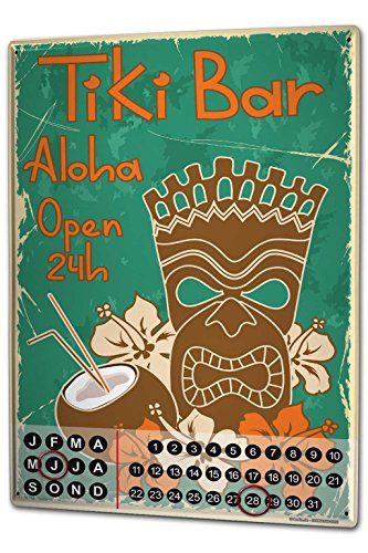 Perpetual Calendar Bar Restaurant Tiki Bar 24 hours Tin Metal Magnetic