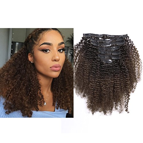 Veri capelli umani clip in hair extensions ombre 1b/4120g 10–55,9cm 4b 4c afro kinky curly real hair full head 7a naturale nero a marrone scuro per donne nere