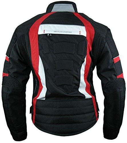 Heyberry Damen Motorrad Jacke Motorradjacke Textil Schwarz Rot Gr. L / 40 - 3