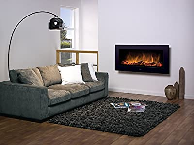 Dimplex SP16 Black Wall Mounted 2kw Electric Fire Log Effect c/w Remote Control