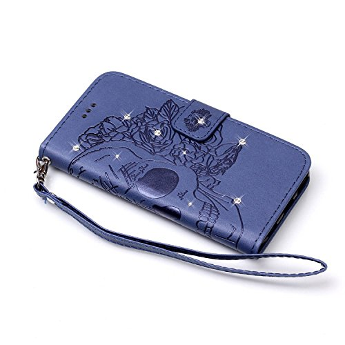 Custodia iPhone 6S, iPhone 6 Cover, ikasus® iPhone 6S/iPhone 6 Custodia Cover [PU Leather] [Shock-Absorption] Goffratura Embossing Floreale Fiore Cranio Campanula Modello Protettiva Custodia Cover con Cranio Blu