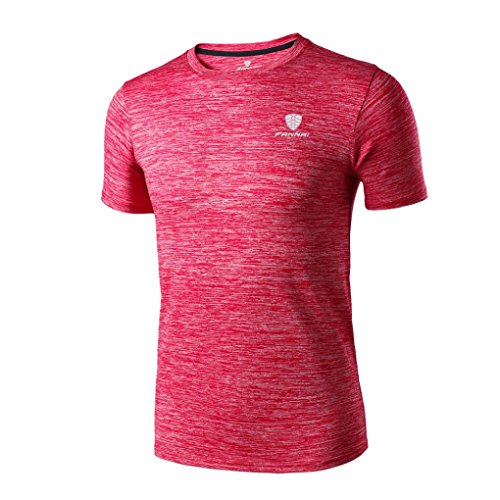 VEMOW Sommer Mann Mode Lässig Täglichen Workout Leggings Fitness Sport Gym Laufen Yoga Athletisch Shirt Top Bluse Pullover (Rot, EU-60/CN-4XL)