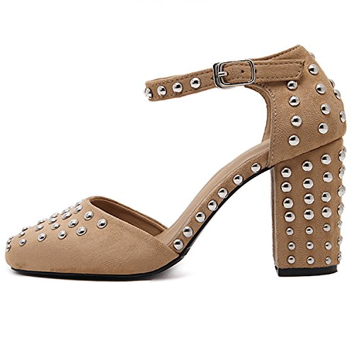 Oasap Women's Square Toe Chunky Heels Ankle Strap Rivet Sandals Black