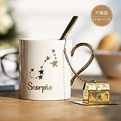 Idea Regalo - MOCER Il giorno di San Valentino idee regalo natale Zodiaco dorato tazza ceramica amanti Cup inviare ragazze regalo di compleanno, Scorpione