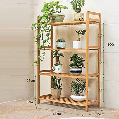 Jardinière en bambou posée sur le sol multicouche simple balcon intérieur salon étagère à plateaux 35cm / 50cm / 68cm (taille : 68 * 25 * 100cm)