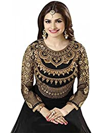 Prachi Desai Black Neck Embroidered Long Anarkali Suit With Designer Neck Embroiderd Dimond