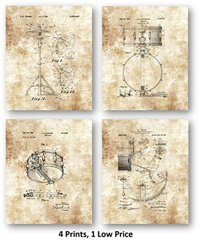 Ramini Brands Snaredrum, Becken und Pedalmusik Übungsraum Dekoration, Set mit 4 x 10 ungerahmten Patentdrucken, tolles Geschenk für Schlagzeuger, Perkussionisten, Bandmitglieder und Musiker