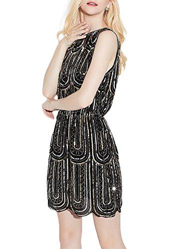 EXLURA Damen Kleider Vintage Cocktail Party Kleid 1920er Gatsby Stil Perlen und Pailletten besetztes Kleines Schwarzes